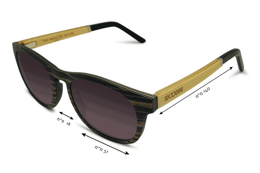 מידות משקפי שמש מעץ Apoidea
