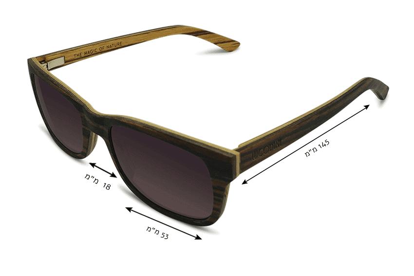 מידות משקפי שמש מעץ Monteverde