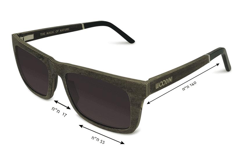מידות משקפי שמש מעץ Waipoua