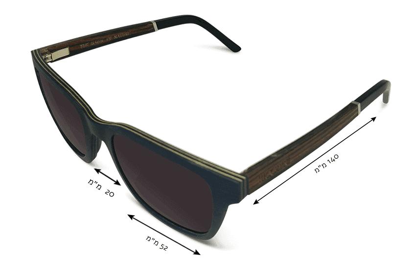מידות משקפי שמש מעץ pacific