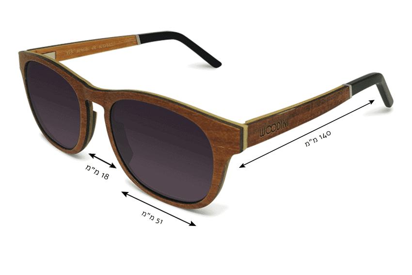 מידות משקפי שמש מעץ salvador