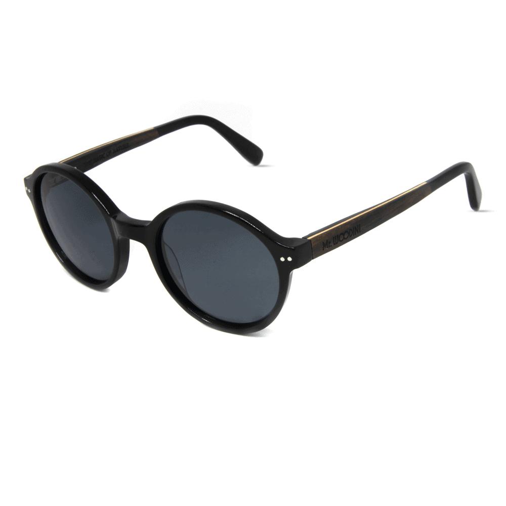 דגם Black Panther - משקפי שמש מאצטט שחור וזרועות עץ - Mr. Woodini