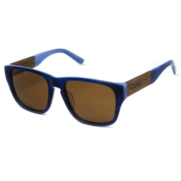 דגם Caribbean - משקפי שמש מאצטט כחול בשילוב עץ איכותי בעבודת יד - Mr. Woodini