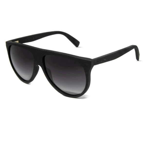 משקפי שמש מעץ הובנה שחור בשילוב עדשות גראדיאנט סגולות - Mr. Woodini