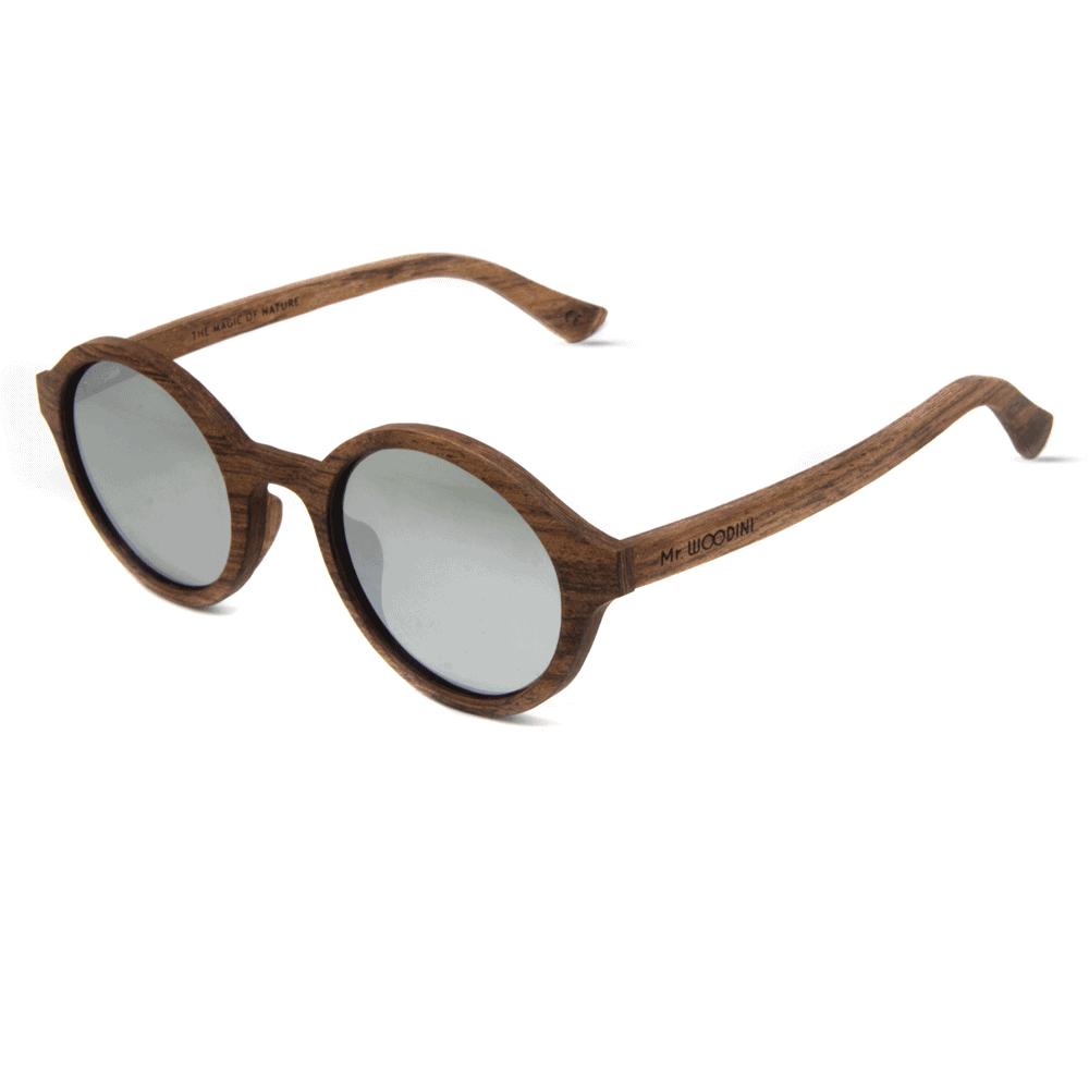 דגם Arishima - משקפי שמש מעץ אדמדם ועדשת מראה כסופה - Mr. Woodini