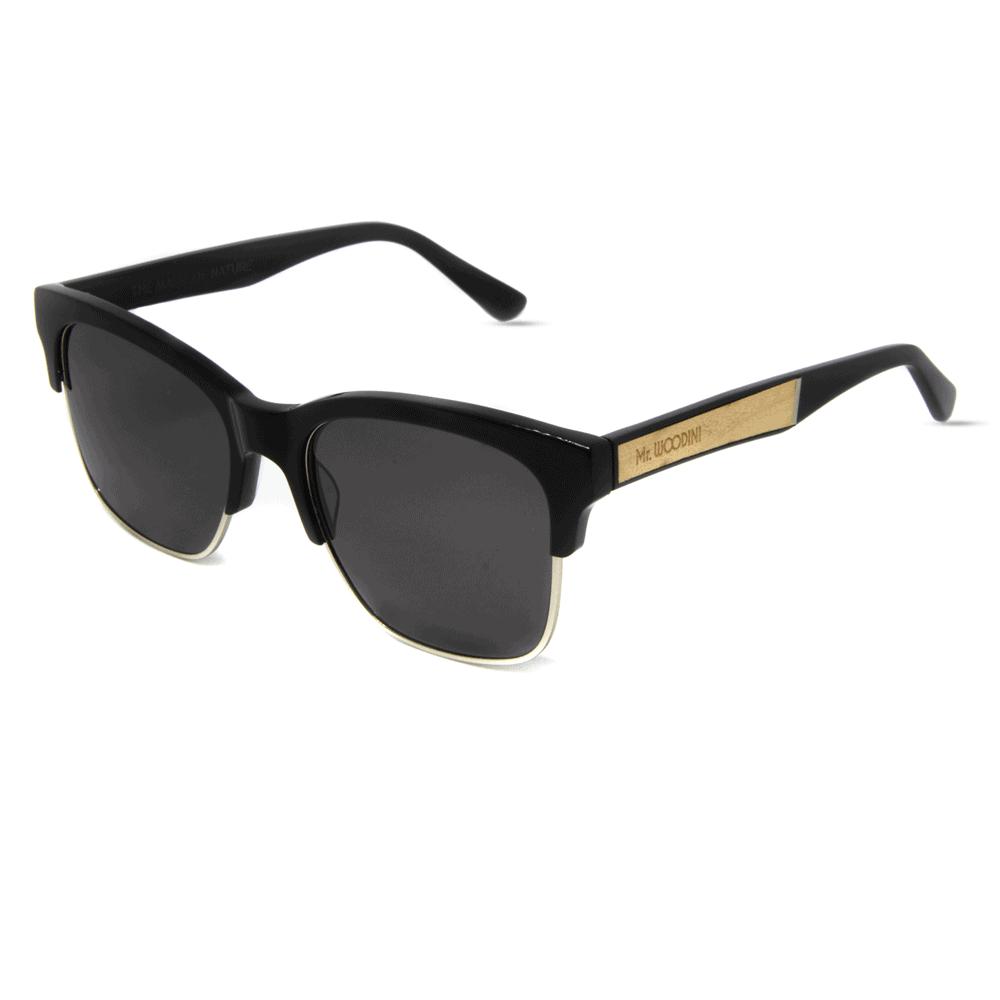דגם Air Force - משקפי שמש מאצטט שחור ושיבוץ עץ מייפל - Mr. Woodini