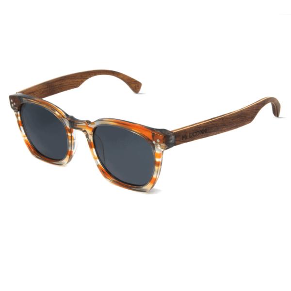דגם Myth - משקפי שמש מאצטט חצי-שקוף בצבע כתום בשילוב זרועות עץ - Mr. Woodini