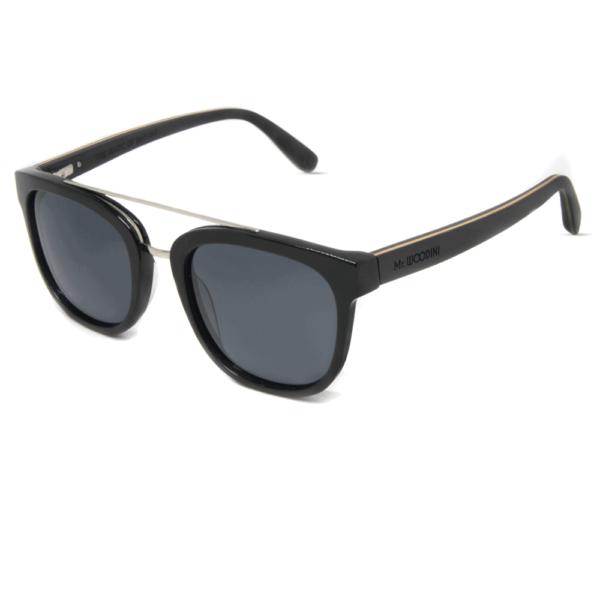 דגם Pirahana - משקפי שמש מאצטט שחור ועץ - Mr. Woodini