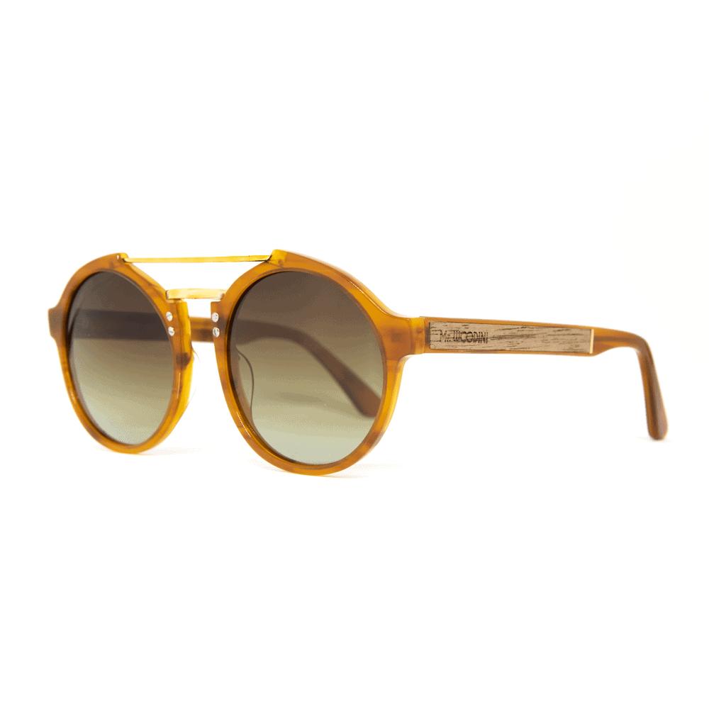 roxbury Orange - משקפי שמש מאצטט ושיבוץ עץ - מיסטר וודיני