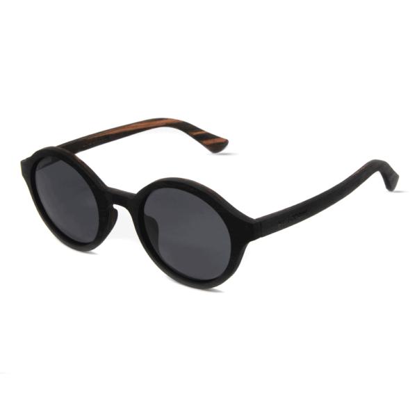 דגם Arishima - משקפי שמש מעץ הובנה שחור - Mr. Woodini