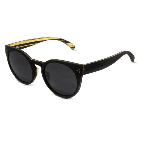 דגם Matira - משקפי שמש מעץ הובנה שחור ועץ זברה לבן - Mr. Woodini