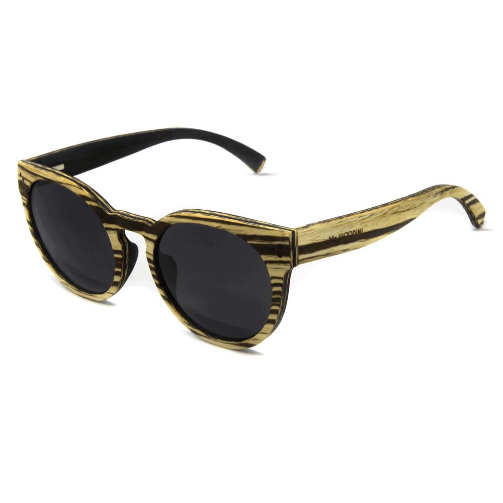 דגם Matira - משקפי שמש מעץ זברה לבן - Mr. Woodini