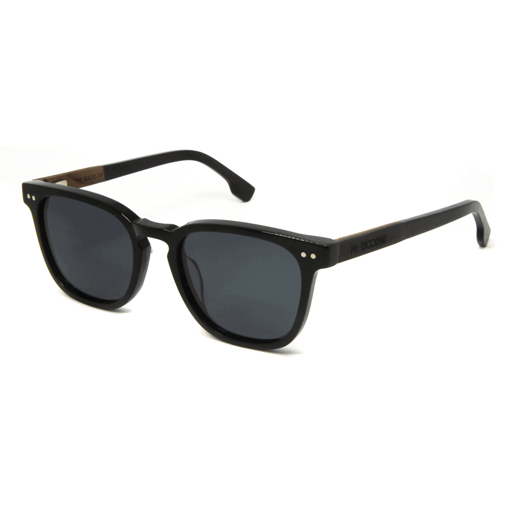 דגם Tarantula - משקפי שמש מאצטט שחור ועץ - Mr. Woodini