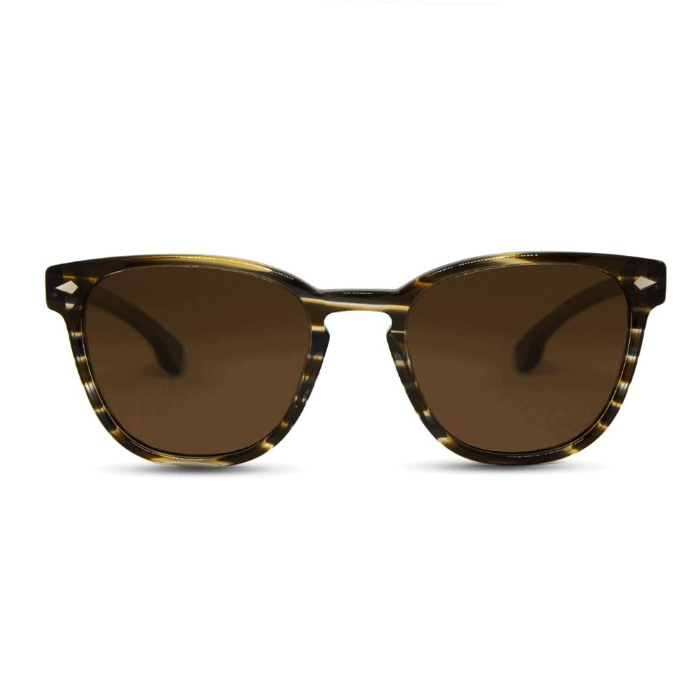 Oyster Aqua - משקפי שמש מאצטט בצבע חום וזרועות עץ בצבע חום בתוספת מתכת